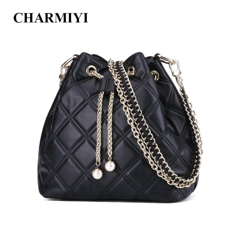 CHARMIYI Brand Bucket Bag Women Genuine Leather Shoulder Bags Ladies Soft Real Leather Black Messenger Bags Female Crossbody Bag цена