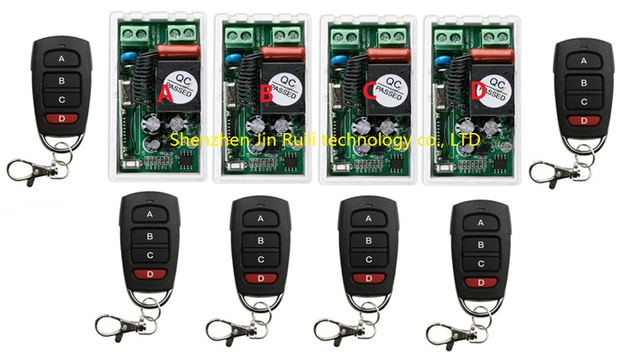 Best Price AC 220 V 1CH Wireless Remote Control Switch System 4pcs Receiver & 6pcs  Transmitter 315mhz/433.92mhz+Smart home new restaurant equipment wireless buzzer calling system 25pcs table bell with 4 waiter pager receiver