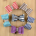 6pcs/lot 6colors 7*3.5cm Handmade Satin Striped Bowknot Clips with Rhinestone For Baby Girls DIY Garments Hair Accessories
