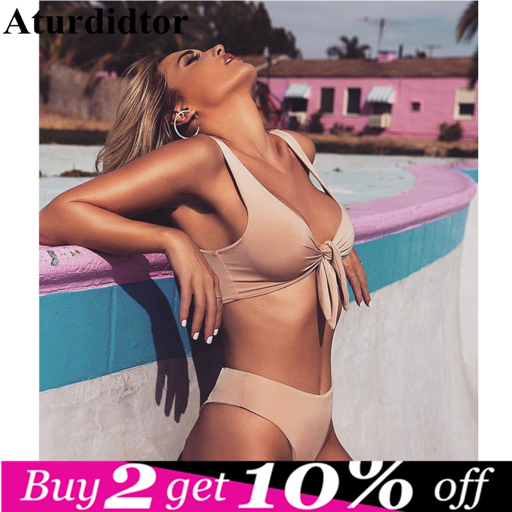 3e76e12cc2f5 Detail Feedback Questions about Padded Front Knot Bikini Set Swimsuit Girls  Women Solid Pink Red Two Piece Beach Wear Swimming Suit Swimwear Female  2018 ...