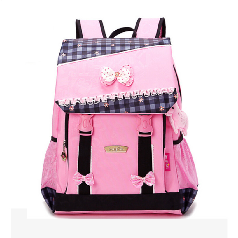 ФОТО cute kids black backpack korean style lace bow plaid backpacks teenager girl school bags children multifunctional schoolbags