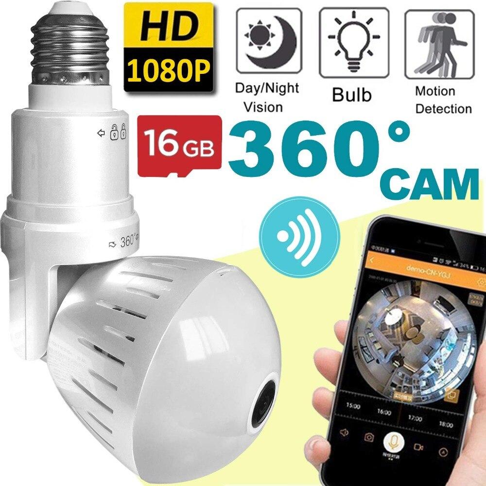 Nouveau 360 caméra vidéo détection de mouvement ampoule lumière caméras intelligentes pour la sécurité à la maison 1.3MP 960 P panoramique Fisheye WIFI caméra vidéo