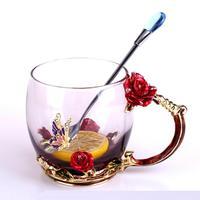 Coffee Cup With Flower Golden Handle Metal Spoon Glass Mug Heat Resistant Beer Tea Cup Milk Juice Mug Drinkware Wedding Gift