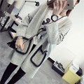QA301 Autumn new gray sweater cardigans women loose pocket long knitted coat oversized outwear