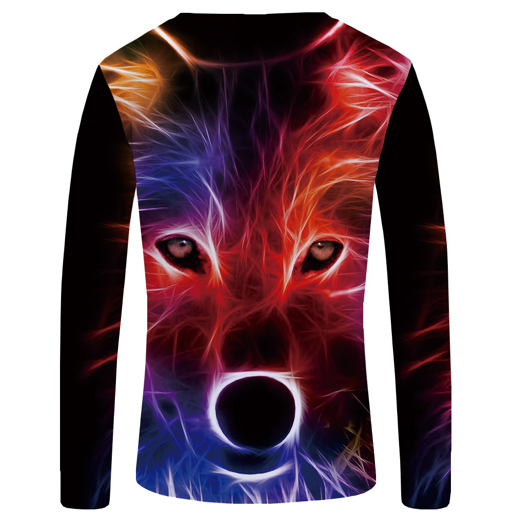 KYKU Wolf T shirt Men Long sleeve shirt Love Streetwear Snow Graphic Mountain Clothes Jungle 3d T-shirt Hip hop Mens Clothing 4