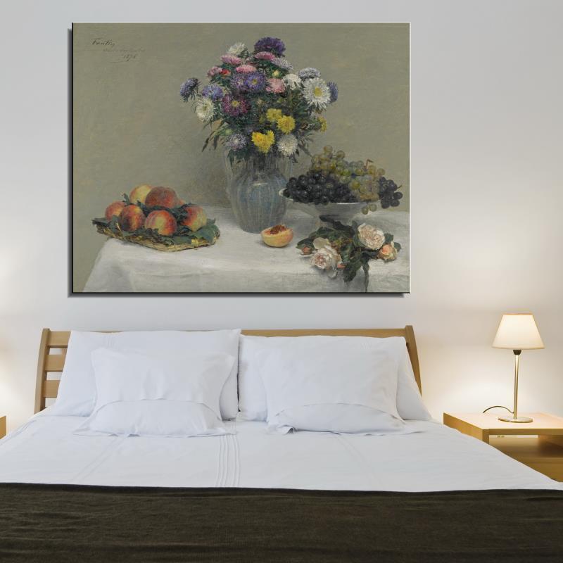 Frameless Canvas Art Oil Painting Flower Painting Design: Peony Flower Classic Canvas Oil Painting Frameless Spray