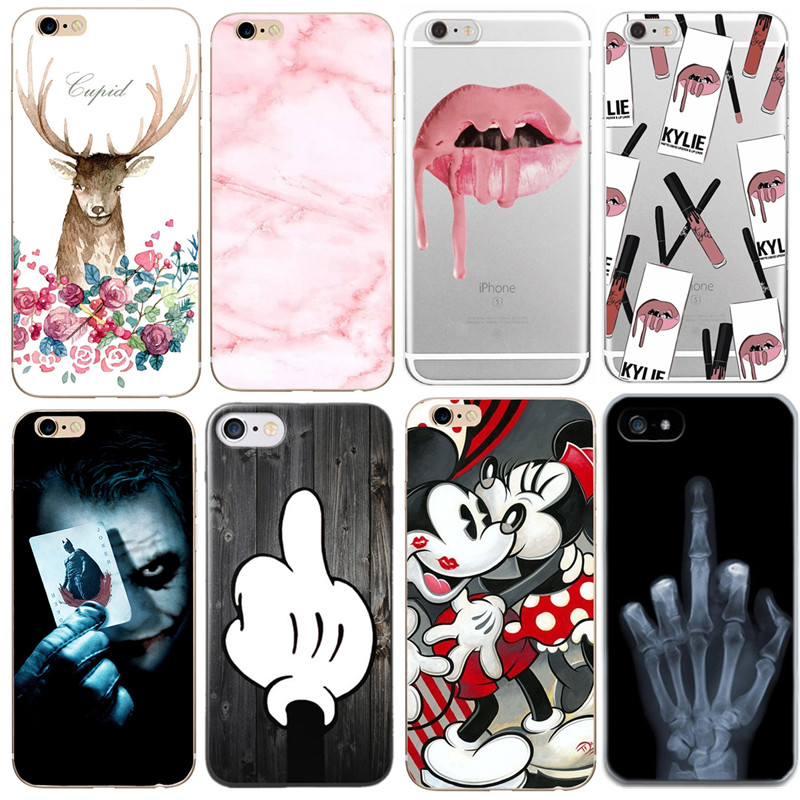 Phone Bag Case For Apple iPhone 8 7 Plus X 5 5S SE 6 6S Soft TPU Marble Stone Lipstick Flower Deer Cartoon Paintin Cover Skin