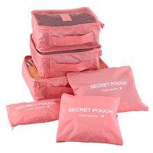 6 teile/satz Mode Doppel-reißverschluss Wasserdicht Polyester Männer und Frauen Gepäck Reisetaschen verpackungs cubes