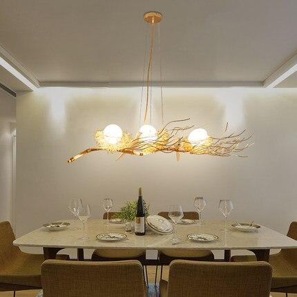 Rétro fer branche pendentif LED lustres Lustre salle à manger LED Lustre éclairage oiseau nid LED luminaires suspendus luminaire - 3