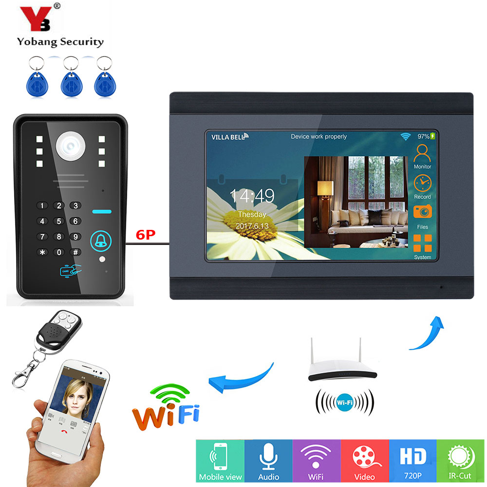 YobangSecurity RFID Password 7 Inch Monitor Wifi Wireless Video Door Phone Doorbell Video Camera Intercom System KIT APP Control yobangsecurity rfid password 7 inch monitor wifi wireless video door phone doorbell video camera intercom system kit app control