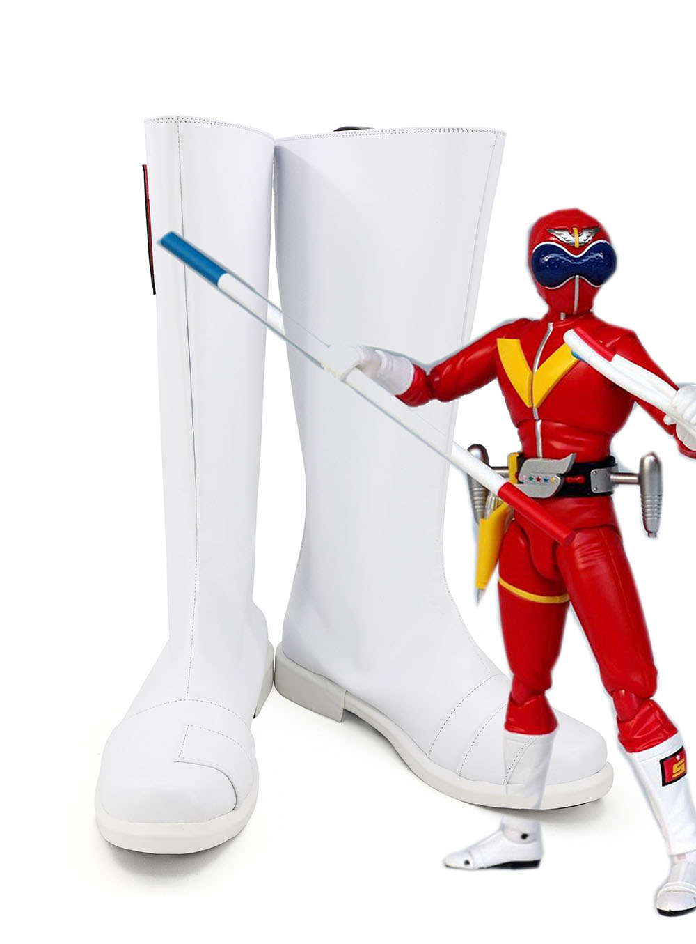 White Power Ranger Power Rangers Superhero black red blue cosplay Boots shoes