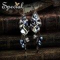 Специальный новинка роскошные серьги AAA циркон синтетический кристалл серьги с пронзительным для девочек женщин EH151007