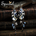 Special New Fashion Luxury Drop Earrings AAA Zircon Synthetic Crystal Earring With Piercing for Girls Women EH151007