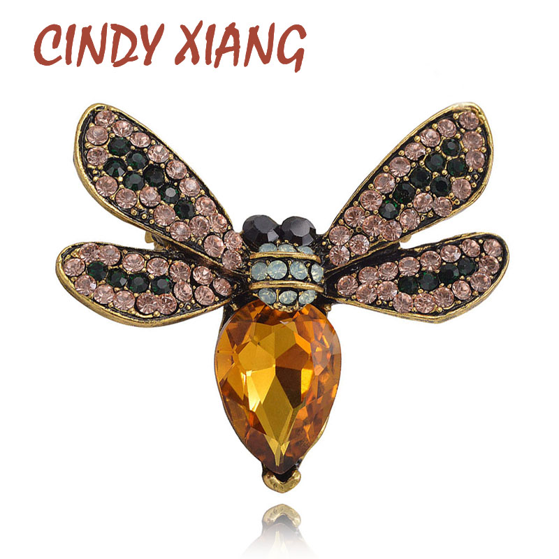 CINDY XIANG 2 Colors Pieejams Crystal Bee Piespraudes sievietēm Cute Insect Vintage Piespraudes Pins Vasaras sērijas kleita Juvelierizstrādājumu dāvana