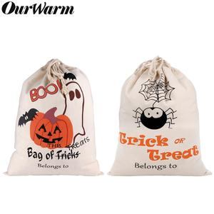 Image 1 - OurWarm 17 x14 inch Halloween Trick or Treat Bags for Kids Reusable Canvas Drawstring Tote Bag Gift Sack Halloween Party Decorat