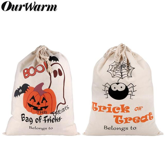 OurWarm 17 x14 inch Halloween Trick or Treat Bags for Kids Reusable Canvas Drawstring Tote Bag Gift Sack Halloween Party Decorat
