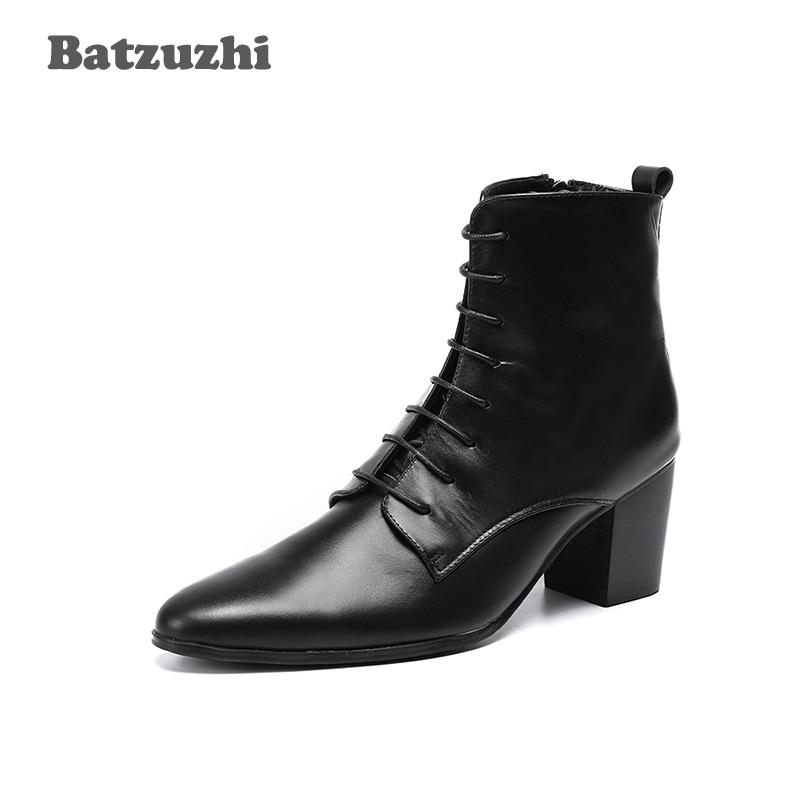 Boots Bota 6 up Dos Cm Alto Homens De Batzuzhi Homens Dedo Botas Apontado Ankle 8 Masculina Preto Genuínas Lace Salto Vestido Couro wggaqrTn7