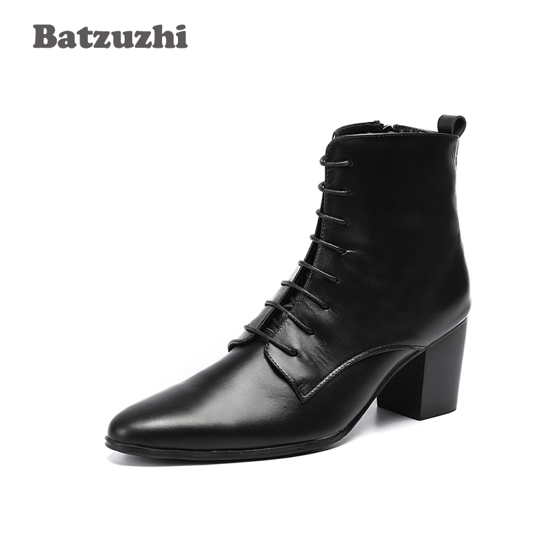 6.8cm High Heel Boots Men Black Genuine Leather Men's Ankle Boots Pointed Toe Lace-up Bota Masculina Dress Boots Men! Batzuzhi