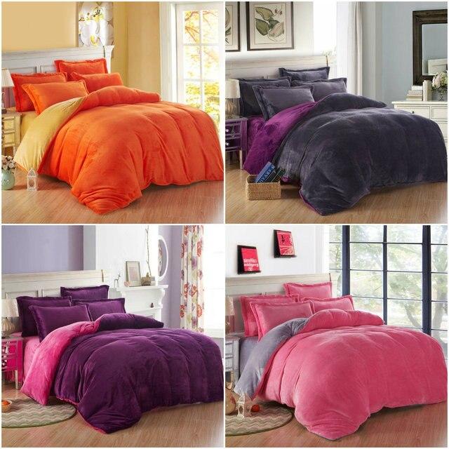 Bon 4pcs Super Soft Thick Velvet Denim Bedding Set Cashmere Bedding Set Super  King Bed Duvet