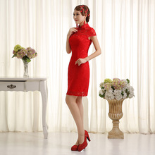 Red Lace Short Cheongsam Traditional Chinese Dress Women Modern Prom Qipao Mini Sexy Robe Orientale Vestido Chines Qi Pao YYQO