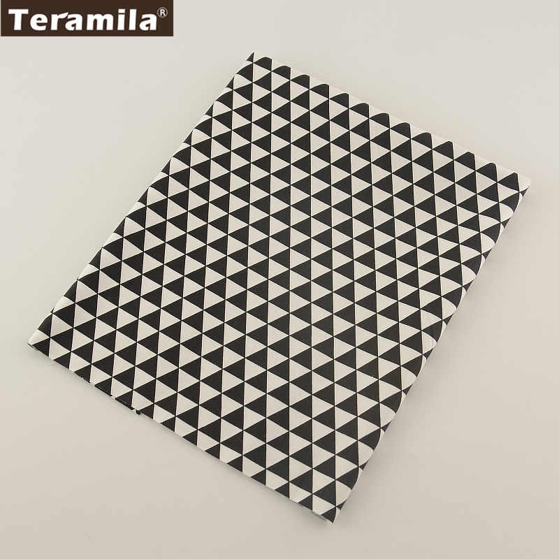 Bed Sheet Patchwork Cotton Fabric Black Geometry Designs 145cm Width Home Textile TERAMILA Linen Fabric Material Quilting