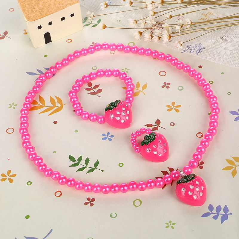Strawberry Necklace Elastic Bracelet Ring Set Best Sale Baby Beads Jewelry Set Children Kids Acrylic Simulated Pearl Necklace