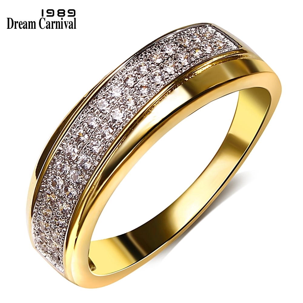 DreamCarnival 1989 Women Wedding Band Rings 2 Tones Rose Gold Color Sparkling CZ Engagement Jewelry Stackable Anillos Mujer Anel