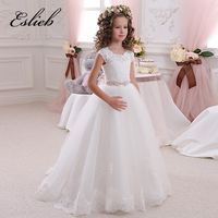 Real Image Ivory White Lace Flower Girls Dresses Ball Gown Floor Length Girls First Communion Dress