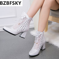 High Quality Women Boots Genuine Leather Ankle Boots Lace Summer Boots Zapatos Chaussures Femme Square High