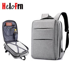 HeloFrn 2019 Fashion Men Backpack For 15.6 Laptop Bagpack USB Charg Large Capacity Backpack Male Travel Mochila Gray Black