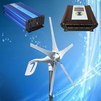 400W Permanent Magnet Wind Power Generator 3/5PCS Blades Optional + Wind Solar Hybrid Controller + 1500W Pure Sine Wave Inverter