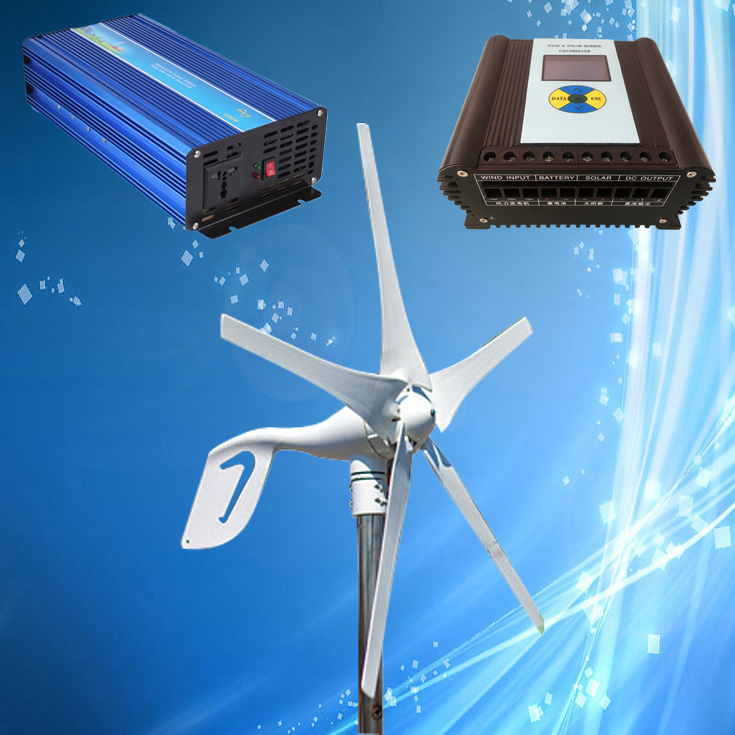 400W Permanent Magnet Wind Power Generator 3/5PCS Blades Optional + Wind Solar Hybrid Controller + 1500W Pure Sine Wave Inverter