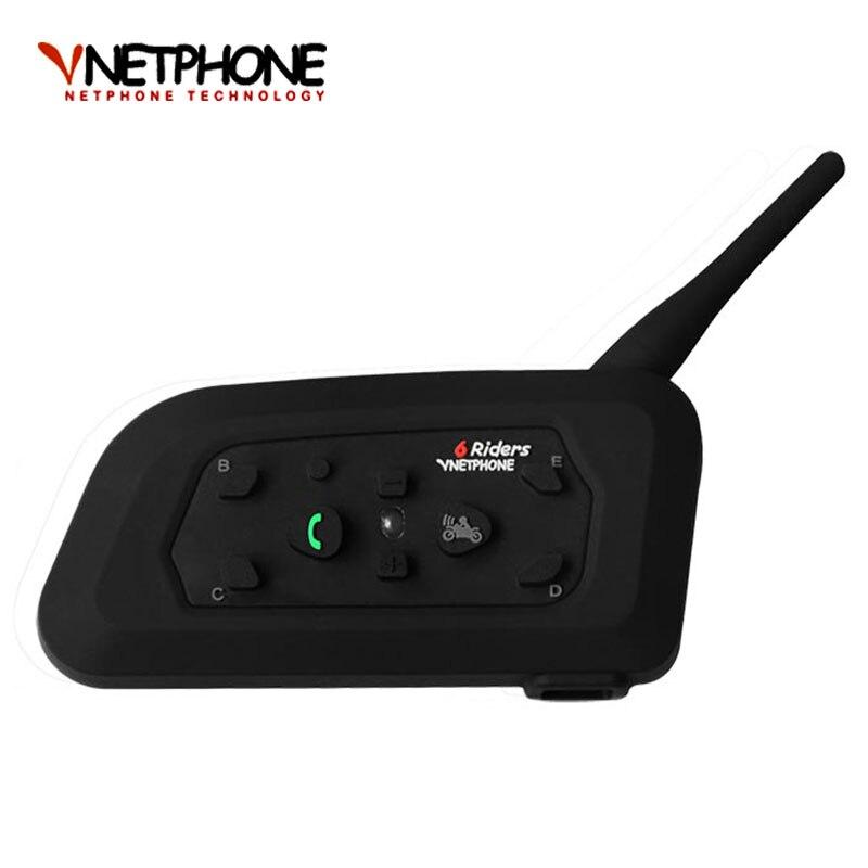 2017 V6 Bluetooth Interphone Moto Casque Accessoires Haut-Parleur 1200 m 6 Coureurs Interphone Casque Soutien Mp3 Musique GPS