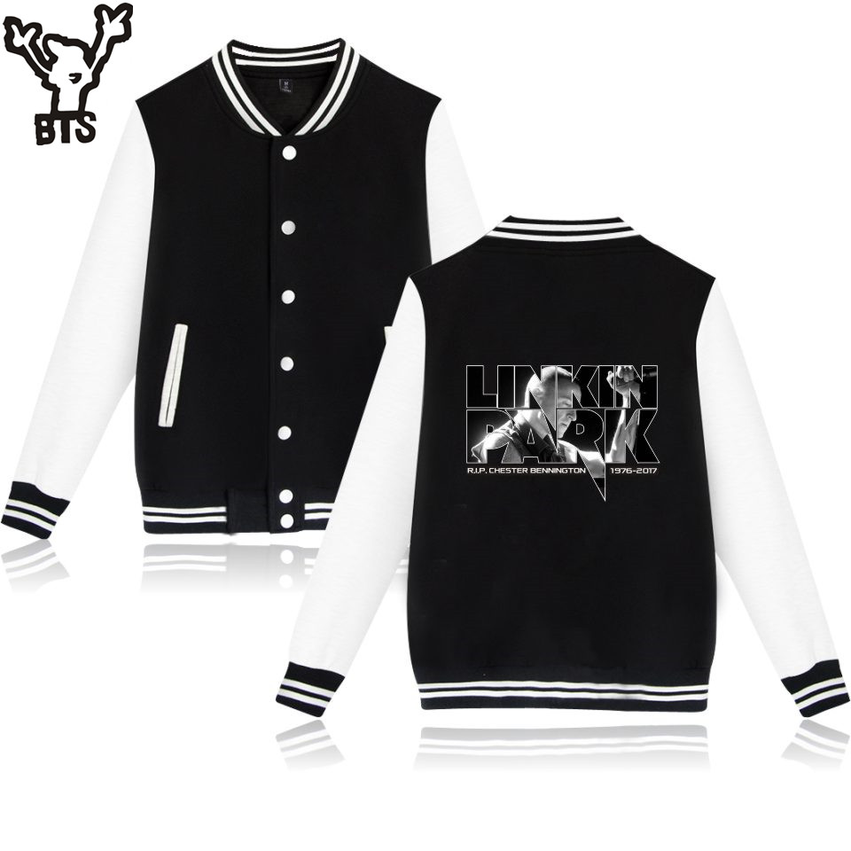 BTS LinKin Park Baseball Jacket Sweatshirt Men Hoodie USA Popluar Famous Singers Fans Men Hoodies And Sweatshirt Hip Hop Clothes