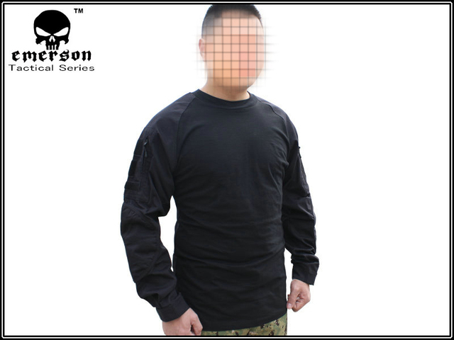 ae6f9f4f Emerson Combat Shirts Military Airsoft Round Collar Tactical Long Sleeve T- shirts EM8518 Black