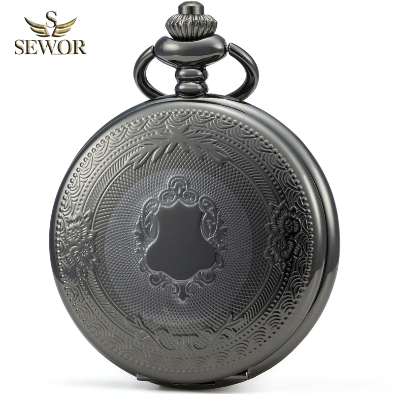 SEWOR Luxury Brand 2019 New Fashion Black Classical Men Sport Mechanical Pocket Watch Gift Pocket Fob Watches C250