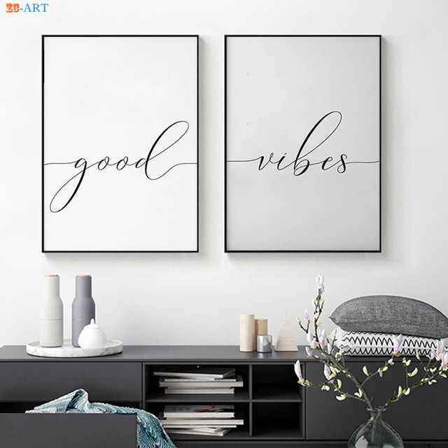 Us 3 74 37 Off Good Vibes Prints Quotes Canvas Painting Poster Monochrome Wall Art Wall Pictures For Living Room Home Decor In Painting