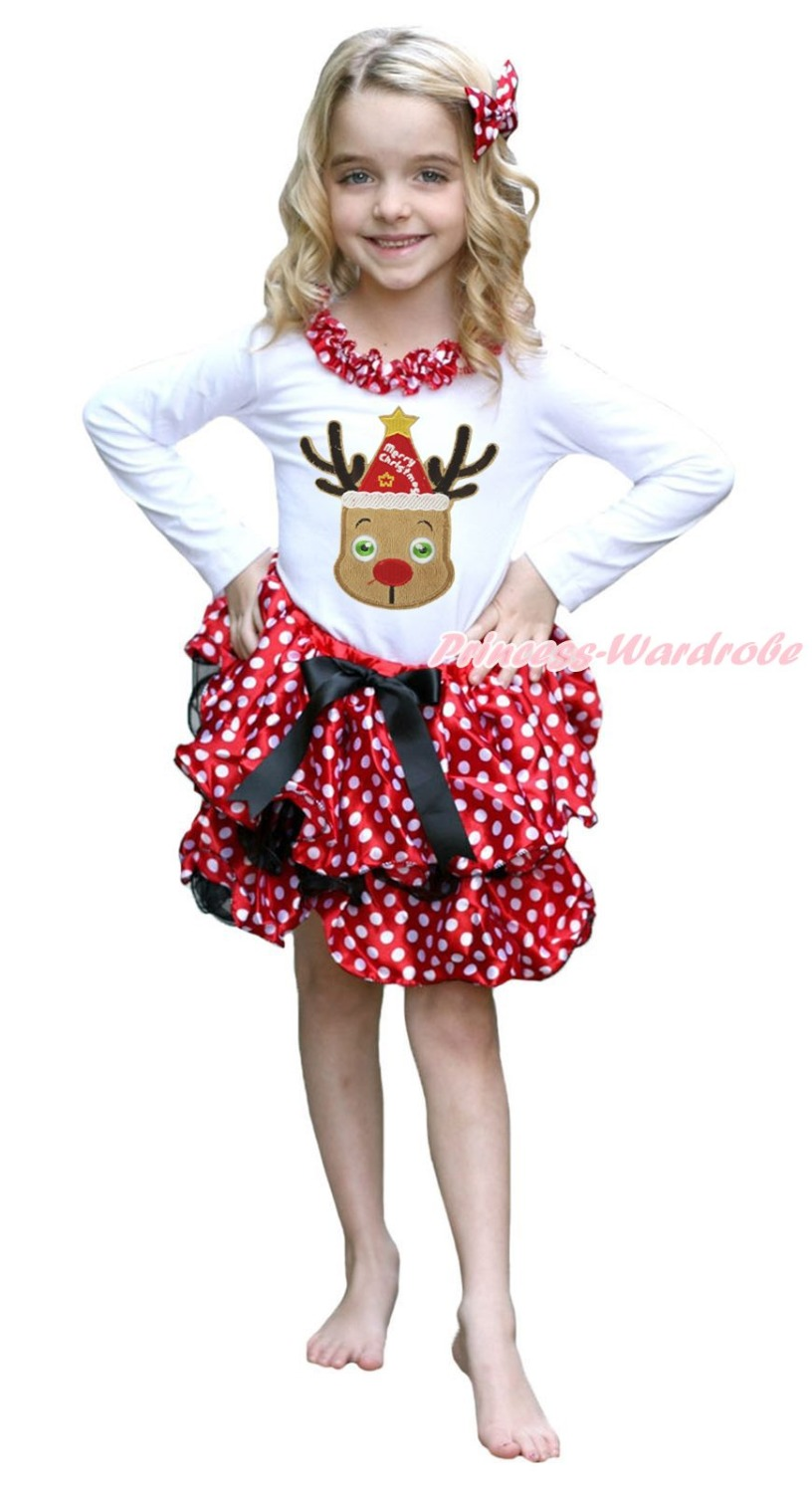 Christmas Hat Reindeer White Top Minnie Dots Petal Pettiskirt Girls Outfit NB-8Y my 1st christmas santa claus white top minnie dot petal skirt girls outfit nb 8y