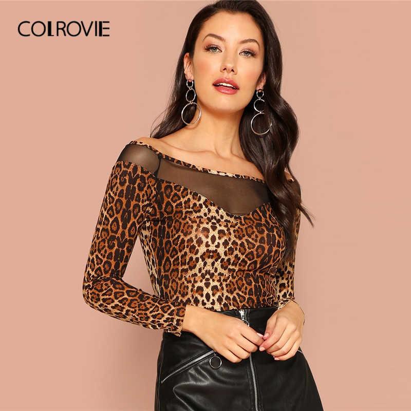 COLROVIE Off The Shoulder Mesh Insert Leopard Print Bardot Elegant T-Shirt  Womens 2019 Spring ef1463213