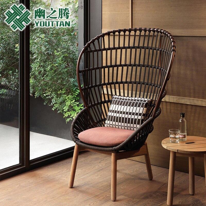 Купить с кэшбэком Outdoor sofa creative soft dress rattan single sofa balcony leisure chair garden garden wicker chair sofa