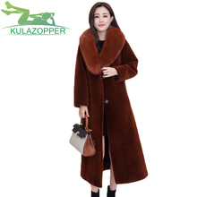 2017 Winter New wool long fox fur collar parka Luxury and noble sheep shepherd female mid long paragraph fur coat ky069