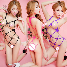 Hollow out netting lace teddy sexy perspective erotic lingerie