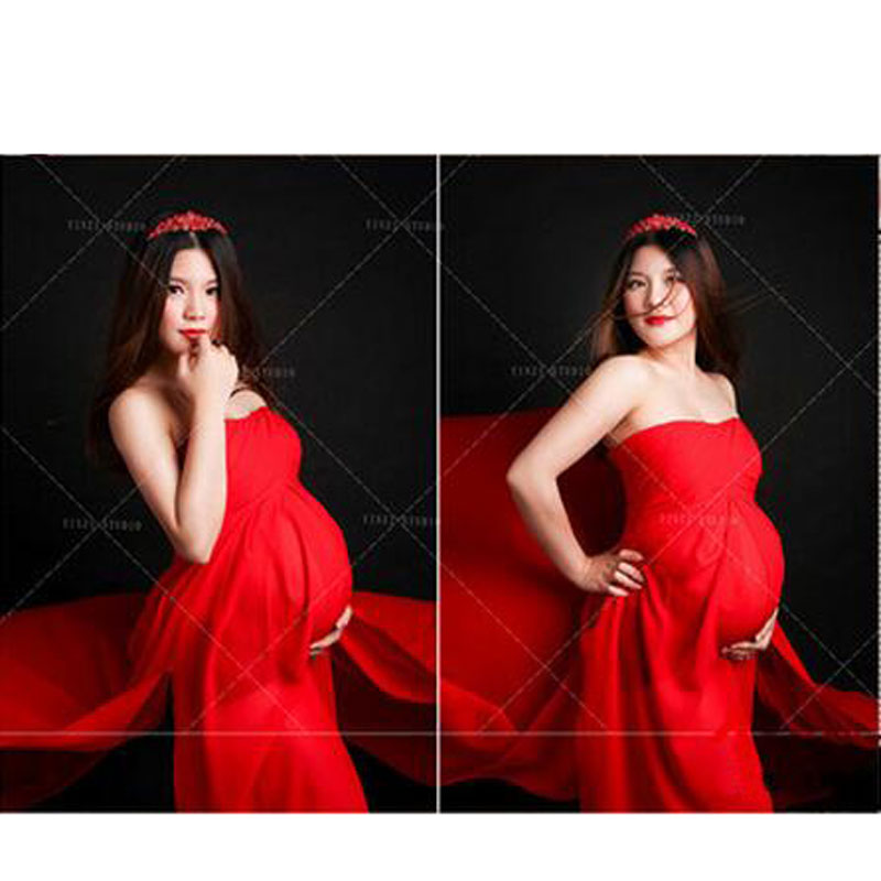 ZTOV 2016 Maternity Photography Props Clothes Pregnancy Dresses For Pregnant Women Clothing Photo Shoot Red Long Dress clothing