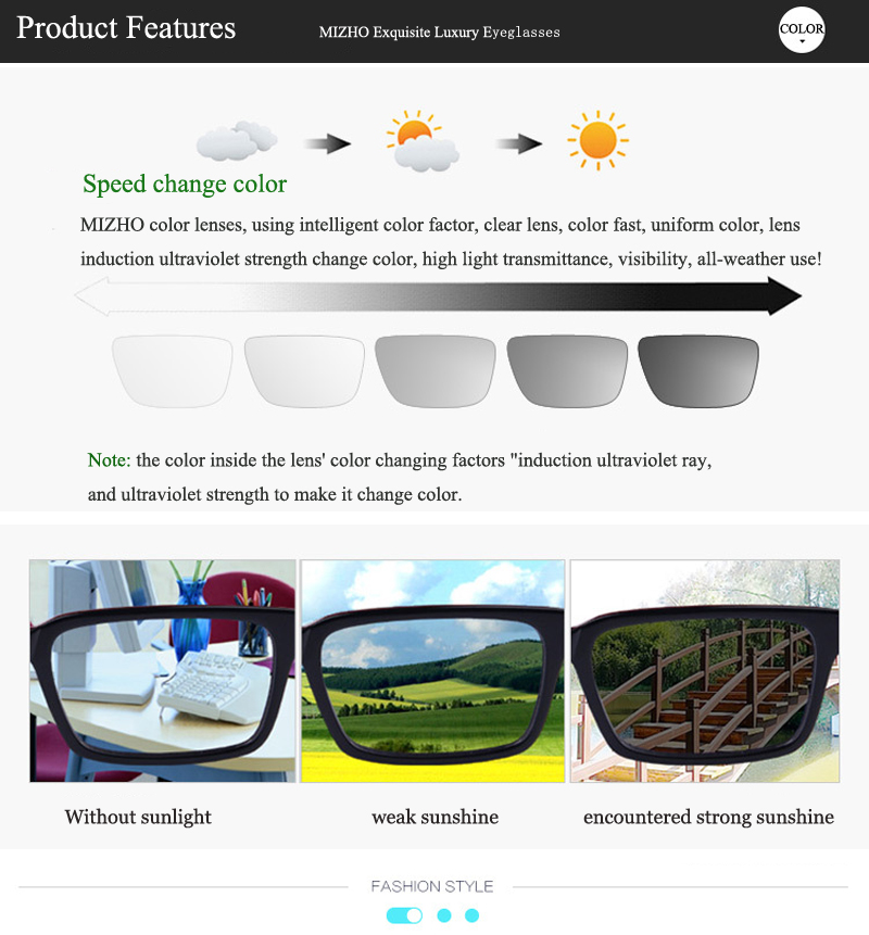 e72732a9667 MIZHO All weather Undertone UV Protection Driving Photochromic Sunglasses  Men Polarized Aluminum Night Vision Square Glasses Men-in Sunglasses from  Apparel ...