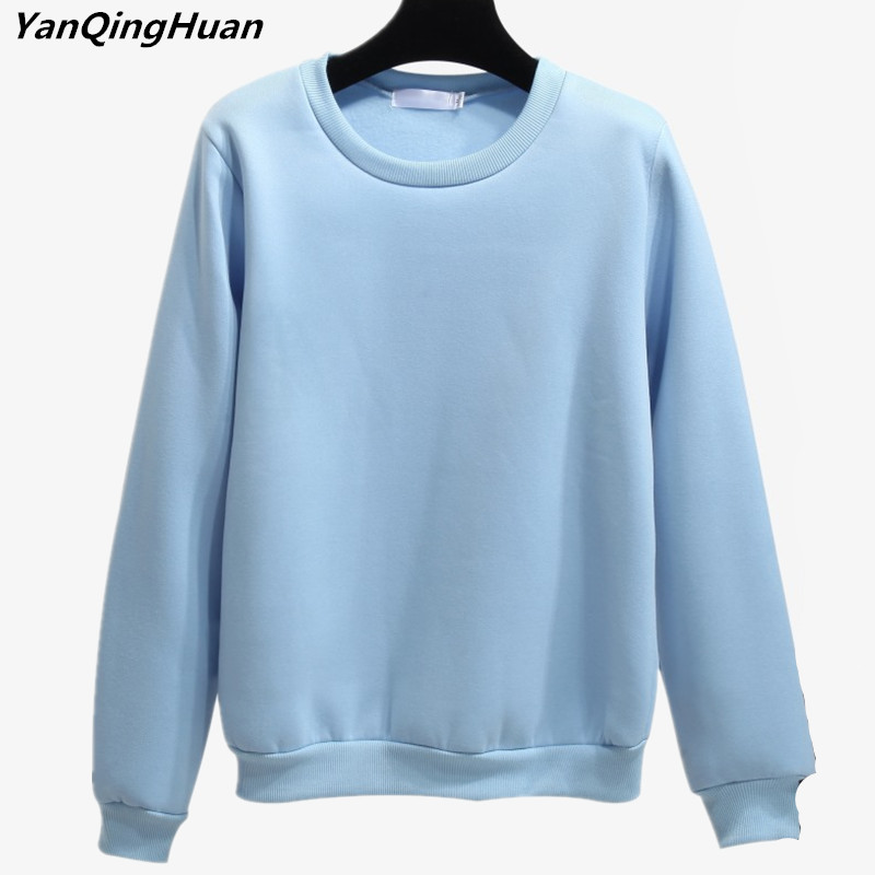 2018 New Fashion Winter Pure Color Casual Style Thickened Long-sleeved Ladies Blue Pullover Plus Velvet Ladies Sweatshirt Tops