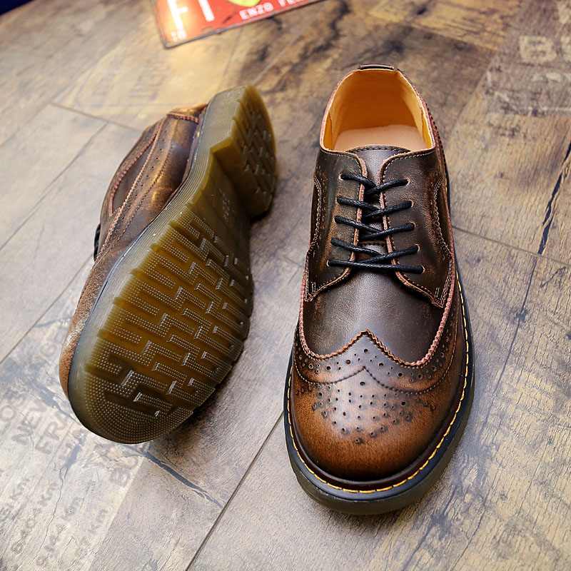 Steampunk Style Brand Men Brogue Shoes Platform Men Oxfords Shoes British Style Creepers Cut Outs Flat