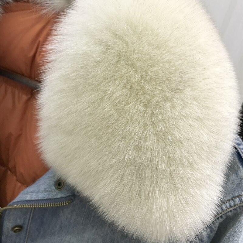 2018 Col Fourrure Casual Chaud Manteau D'hiver Coat Manches 100Importation Amovible Femmes Bleu Long Et Naturel Denim Ciel De Renard Vêtements QEWdCxBore