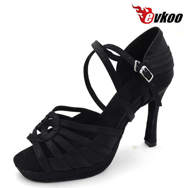 Evkoodance Brand High Heel 10cm With Platform Comfortable Black Satin Salsa  Dancing Shoes Size US 4-12 For Women Evkoo-437 6b8b193a9f5e