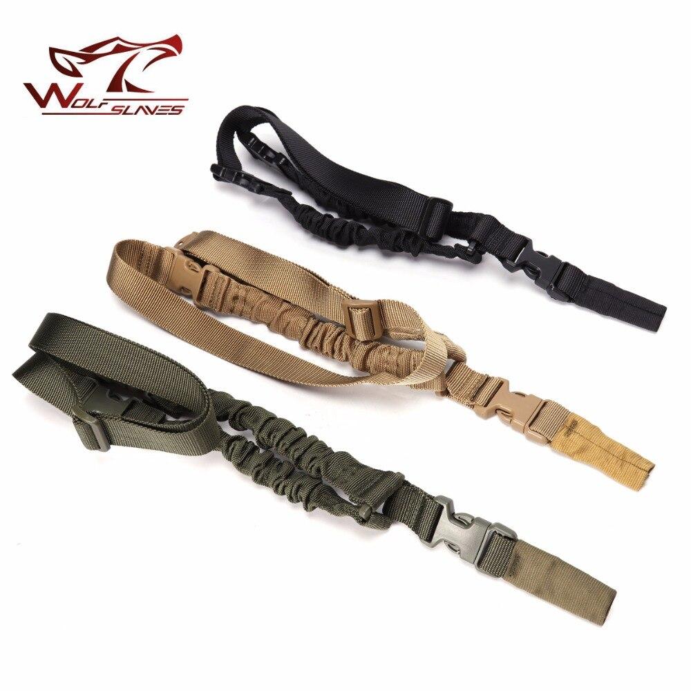 Spor ve Eğlence'ten Avcılık Silah Aksesuarları'de Yeni varış ağır taktik bir 1 tek nokta tüfek kayışı ayarlanabilir Bungee tüfek omuz askısı uzunluk Airsoft tüfek sling title=