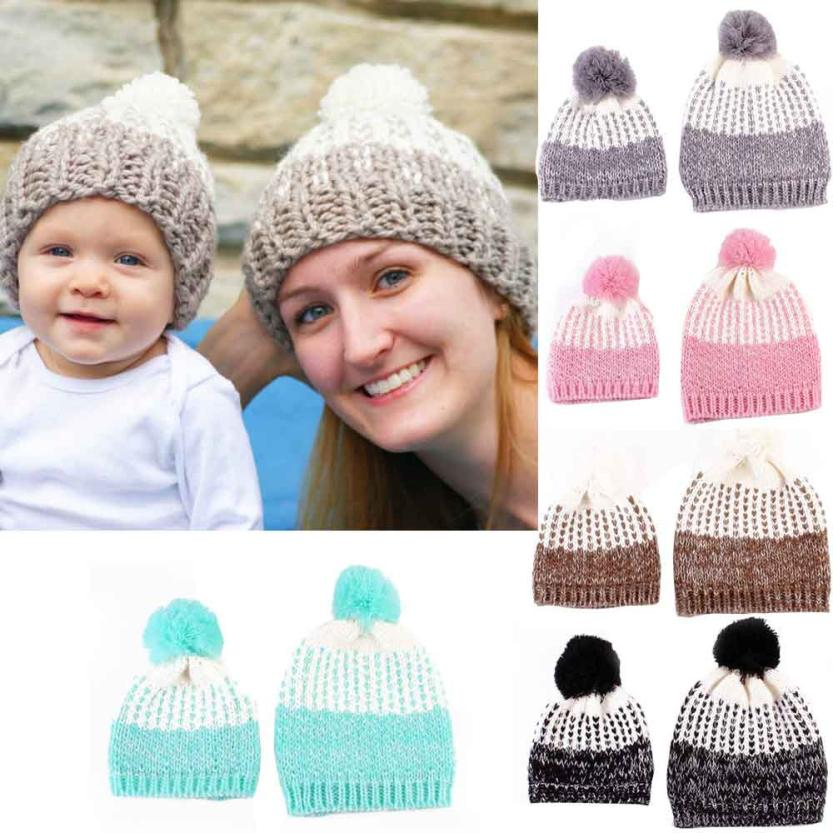 60ac2568974 Mom And Baby Knitting Keep Warm Hat Sets Family Matching Outfits Woman  Winter hat baby bonnet gorros bebe invierno Dropshipping-in Hats   Caps  from Mother ...